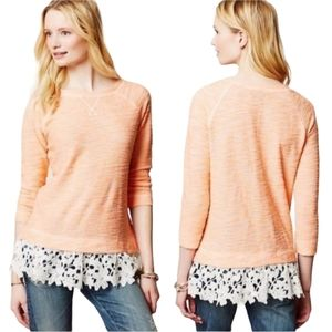 Sunday in Brooklyn Anthro Peach Sweater w/ Lace